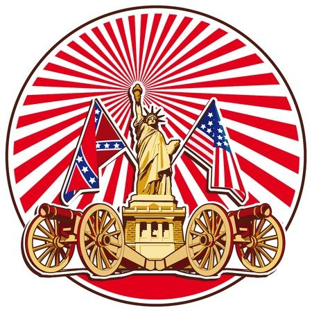 동상: 제한된 팔레트에서 실행할 미국의 상징 배경에 두 총과 자유의 여신상과 미국 역사의 테마에 라운드 바 림. 아니 그라디언트 및 혼합입니다.