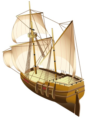 sailer: vectorial image of old tallship (carvel - fast Spanish or Portuguese ship of the 15th-17th centuries), isolated on white background. File contains gradients.