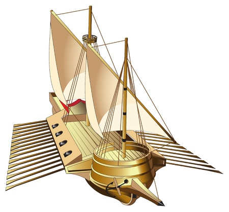 sailer: Vectorial image of galley - flat ship with one or more sails and up to three banks of oars, chiefly used for warfare, trade, and piracy. File contains gradients.