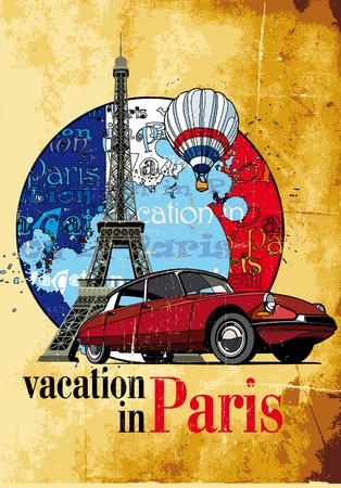 eifel tower: Vectorial round vignette on theme of French and Paris with inscription  Illustration