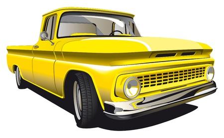 昔ながらの黄色ピックアップ白い背景で隔離の詳細なベクトル画像