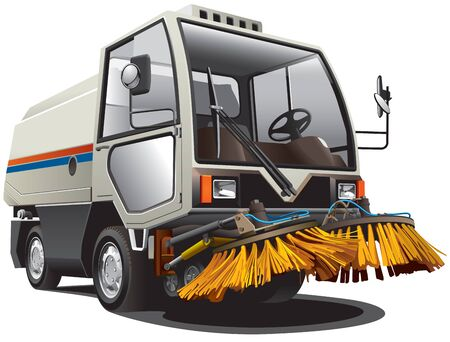 clean street: Detailed image of little sweeper, isolated on white background Illustration