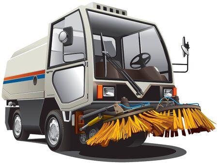 cleaning equipment: Immagine dettagliata della spazzatrice piccola, isolata su sfondo bianco