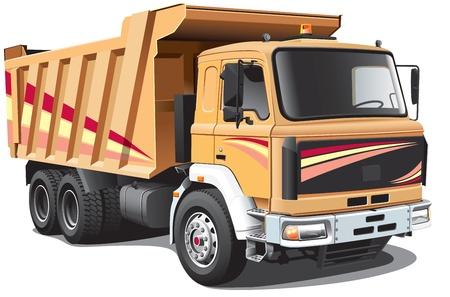 volteo: Imagen detallada del camión de volteo de color marrón claro, aisladas sobre fondo blanco. Archivo contiene gradientes. No se mezcla y accidentes cerebrovasculares.