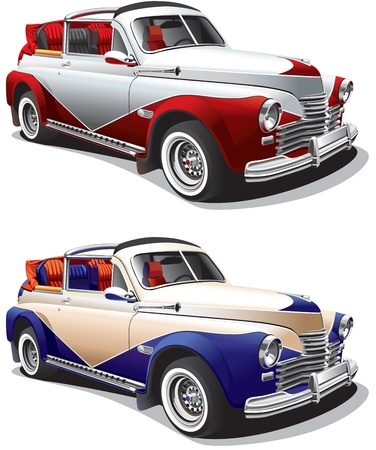 Detailed image of hot rod, executed in two colors variants, isolated on white background. File contains gradients. No blends and strokes. Vector