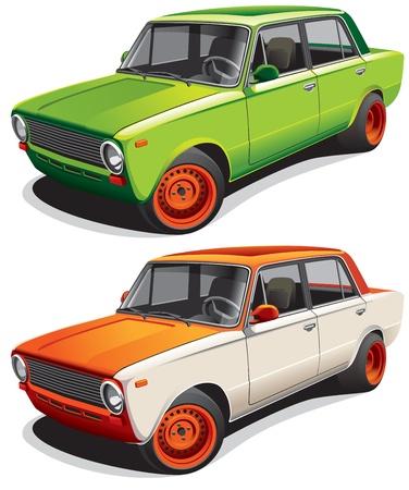coche antiguo: Imagen detallada del veh�culo de arrastre, ejecutado en dos variantes de colores, aislados en fondo blanco. Archivo contiene gradientes. No se mezcla y accidentes cerebrovasculares.