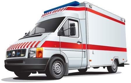 Detailed image of ambulance car, isolated on white background. File contains gradients. No blends and strokes. Vector