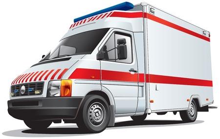 Gedetailleerd beeld van ambulance auto, geïsoleerd op een witte achtergrond. Bestand bevat gradiënten. Geen blends en beroertes.