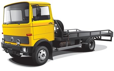 Gedetailleerd beeld van de gele sleepwagen, geïsoleerd op een witte achtergrond. Bevat hellingen. Geen beroertes en mengsels.