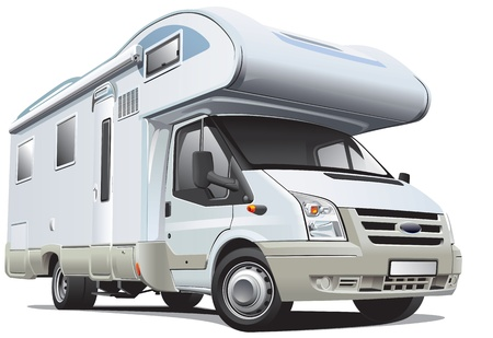 caravan: Detailed image of white camper, isolated on white background. File contains gradients. No blends and strokes. Illustration