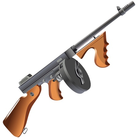 tommy: Detailed  image of machinegun - Tommy Gun - weapon of mafia, isolated on white background. Illustration