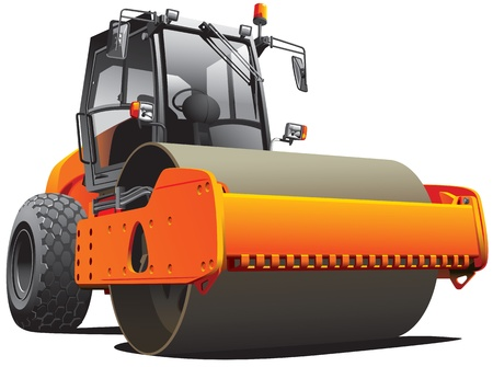 compactor: Detailed  image of orange roller, isolated on white background. File contains gradients. No strokes and blends. Illustration