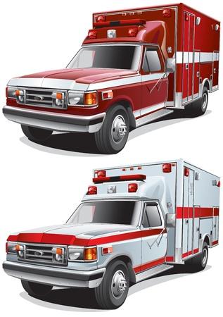 voiture de pompiers: image détaillée de deux voitures de service, isolé sur fond blanc. Fichier contient des gradients. Pas de mélanges et d'accidents vasculaires cérébraux. Illustration