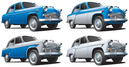 Detailed image of vintage car isolated on white background, executed in four color variants. File contains gradients. No blends and strokes. Stock Vector - 14616365