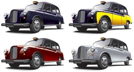Gedetailleerd beeld van ouderwetse taxi, geïsoleerd op witte achtergrond, uitgevoerd in vier kleurvarianten. Bestand bevat gradiënten. Geen blends en beroertes.