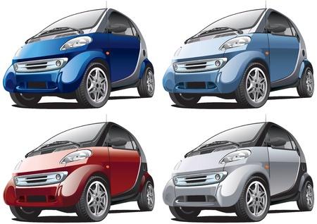 Gedetailleerd beeld van slimme moderne auto geïsoleerd op witte achtergrond, uitgevoerd in vier kleurvarianten. Bestand bevat gradiënten. Geen blends en beroertes.