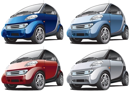 smart: Gedetailleerd beeld van slimme moderne auto geïsoleerd op witte achtergrond, uitgevoerd in vier kleurvarianten. Bestand bevat gradiënten. Geen blends en beroertes.