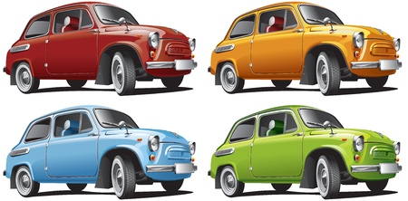 Detailed image of vintage car isolated on white background, executed in four color variants. File contains gradients. No blends and strokes.