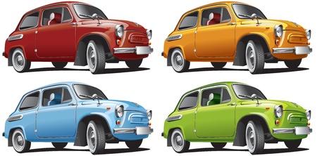 Gedetailleerd beeld van antieke auto geïsoleerd op witte achtergrond, uitgevoerd in vier kleurvarianten. Bestand bevat gradiënten. Geen blends en beroertes.