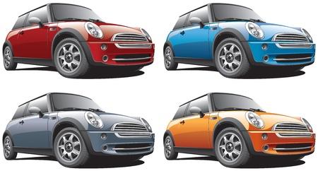 白い背景と、4 つのカラー バリエーションで実行に分離されたスマートな現代車の詳細な画像。ファイルには、グラデーションが含まれています。