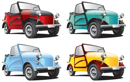 Detailed image of vintage car isolated on white background, executed in four color variants. File contains gradients. No blends and strokes. Stock Vector - 14616363