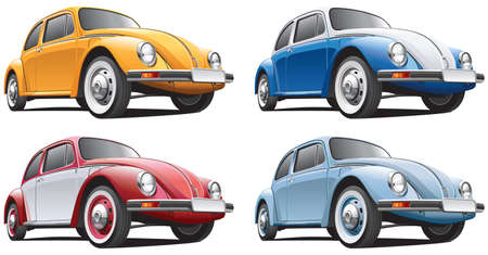 vw: Detailed image of vintage car isolated on white background, executed in four color variants. File contains gradients. No blends and strokes.