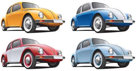 escarabajo: Imagen detallada de coche de �poca aisladas sobre fondo blanco, ejecutado en cuatro variantes de color. El fichero contiene gradientes. No hay mezclas y accidentes cerebrovasculares.