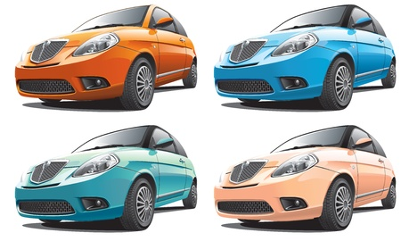 Detailed image of smart modern car isolated on white background, executed in four color variants. File contains gradients. No blends and strokes. Ilustração
