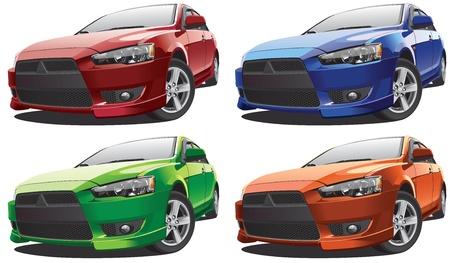 白い背景と、4 つのカラー バリエーションで実行に分離された現代のレーシングカー車の詳細な画像。ファイルには、グラデーションと透明度が含