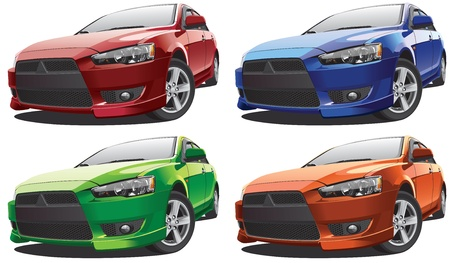 Detailed image of modern rasing car, isolated on white background, executed in four color variants. File contains gradients and transparency. No blends and strokes.