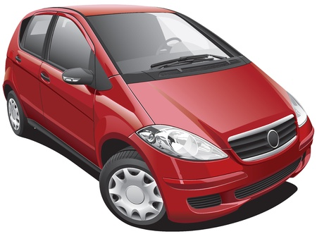 Detailed image of modern minivan, isolated on white background. File contains gradients and transparency. No blends and strokes.
