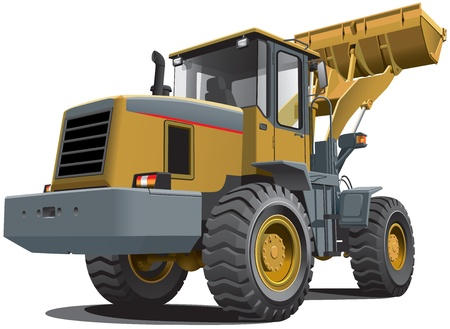 equipments: Detailed vectorial image of pale brown loader, isolated on white background. Contains gradients.