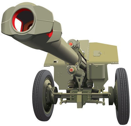 no war: Vector detailed image of howitzer of times of World War II, isolated on white background. File contains gradients. No blends and strokes.