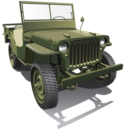 Detailed image of old army jeep -  Vector