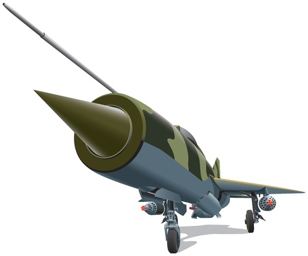 cold war: Detailed image of old jet-fighter of times of Cold War, isolated on white background. File contains gradients. No blends and strokes.