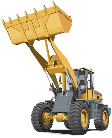 construction equipment: Detailed vectorial image of pale brown loader, isolated on white background. Contains gradients.