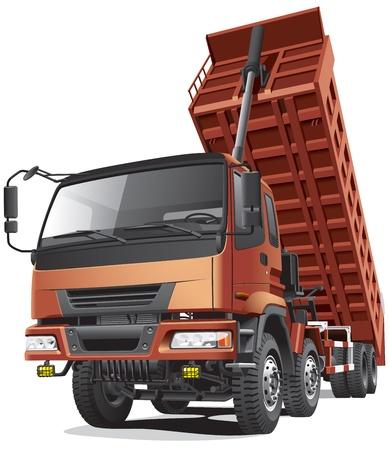 Gedetailleerd beeld van grote acht-wiel dump truck met vernietigd lichaam, geïsoleerd op een witte achtergrond. Bestand bevat verlopen en transparantie (koplampen). Geen blends en beroertes.