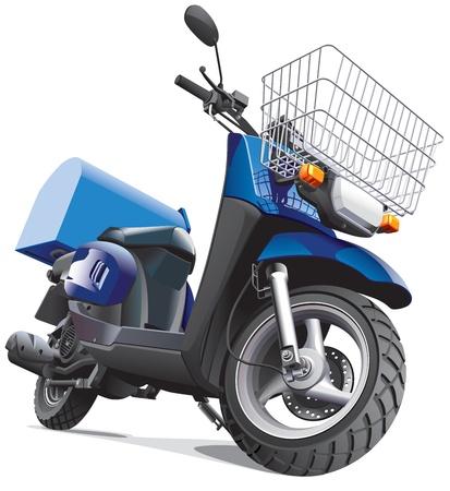 Gedetailleerd beeld scooter voor levering goederen, geïsoleerd op een witte achtergrond. Bestand bevat hellingen. Geen mengsels en beroertes. Stock Illustratie