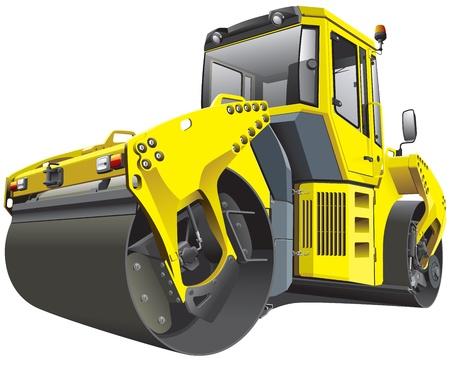 yellow tractor: Imagen detallada vectorial de rodillo amarillo grande, aislado en fondo blanco. El fichero contiene gradientes. No hay movimientos y mezclas. Vectores