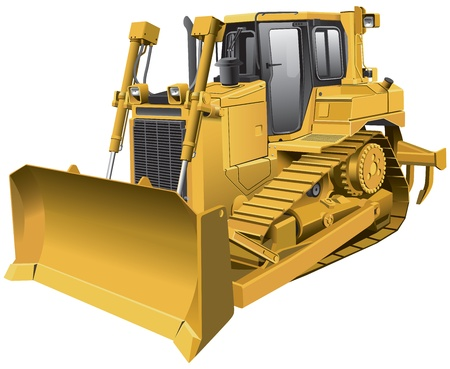 Detailed  image of large light-brown tracklaying dozer, isolated on white background. File contains gradients. No blends and strokes.