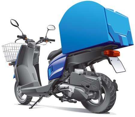 курьер: Подробная скутер на изображение для доставки товаров, изолированных на белом фоне. Иллюстрация