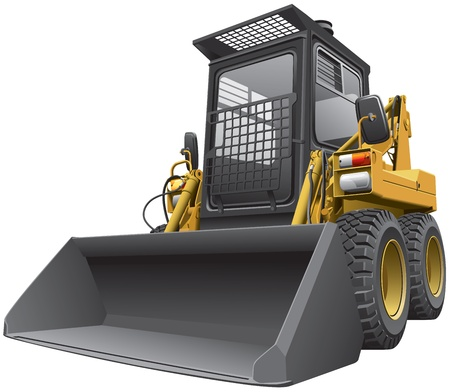 hydraulic: Detailed image of light-brown skid steer loader, isolated on white background.