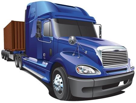 teherautók: Részlet kép az amerikai modern kocsi, elszigetelt fehér háttérrel. Illusztráció