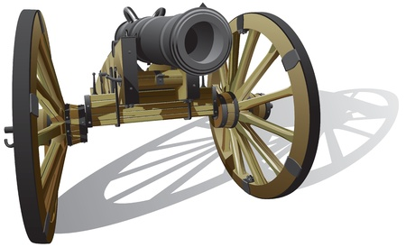 detailed image of typical field gun of times of American Civil War, isolated on white background.