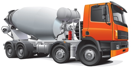 batch: Detail image of modern large concrete mixer, isolated on white background.