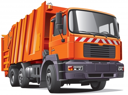 collector: Detail image of modern garbage truck, isolated on white background.