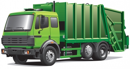 Detail image of modern garbage truck, isolated on white background.