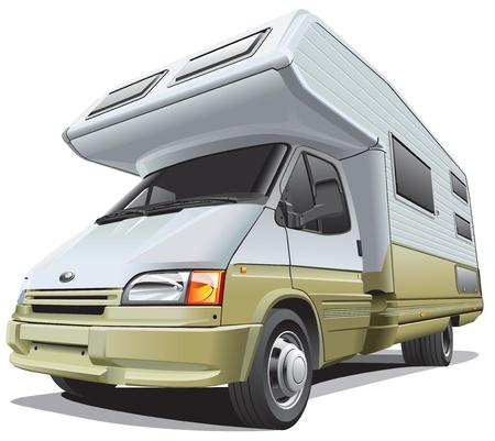 モダンなキャンピングカー、白い背景で隔離の詳細説明画像。