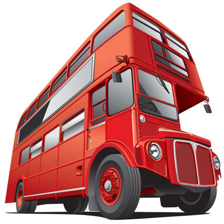 double decker bus: Detailed vector image of symbol of London - best-known British double-decker bus
