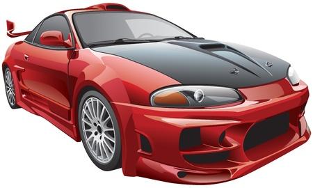 현대 사용자 정의 자동차의 세부 벡터 이미지, 흰색 배경에 고립. 파일에는 그라디언트 및 투명도가 포함되어 있습니다. 아니 블랜드와 스트로크. 쉽게